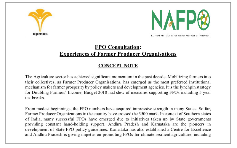 Conference on Experiences of Farmer Producer Organisations (a context of South India)- Jointly organised by APMAS & NAFPO on 12th July, 2019, Hyderabad
